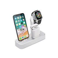 Док-станция CoteetCI 3-in-1 Multifunction Charging Stand для iPhone / Apple Watch / AirPods Silver